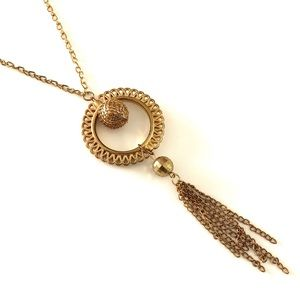 Vintage Gold Tassel Long Necklace Round Pendant